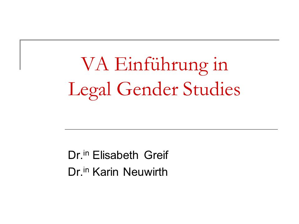 VA Einführung in Legal Gender Studies