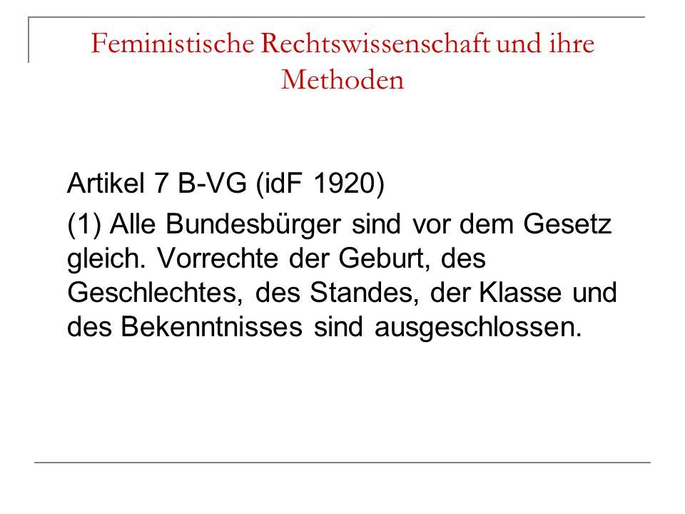 Feministische Rechtswissenschaft und ihre Methoden