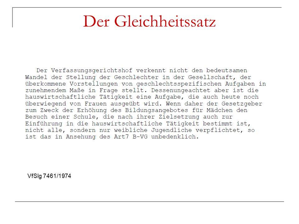 Der Gleichheitssatz VfSlg 7461/1974
