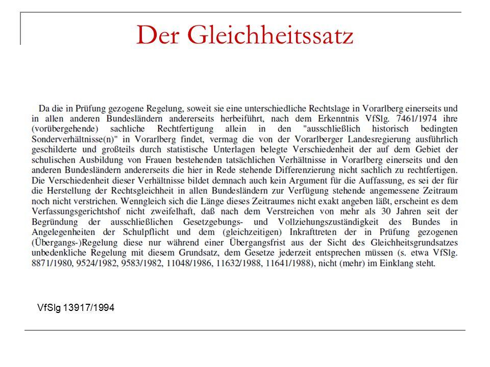 Der Gleichheitssatz VfSlg 13917/1994