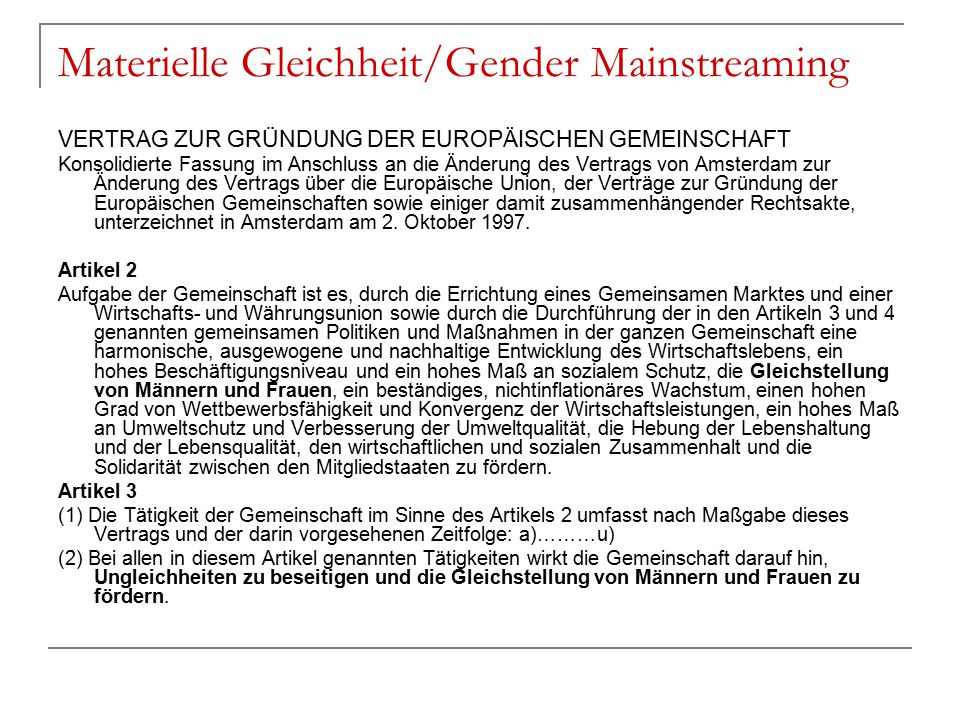 Materielle Gleichheit/Gender Mainstreaming