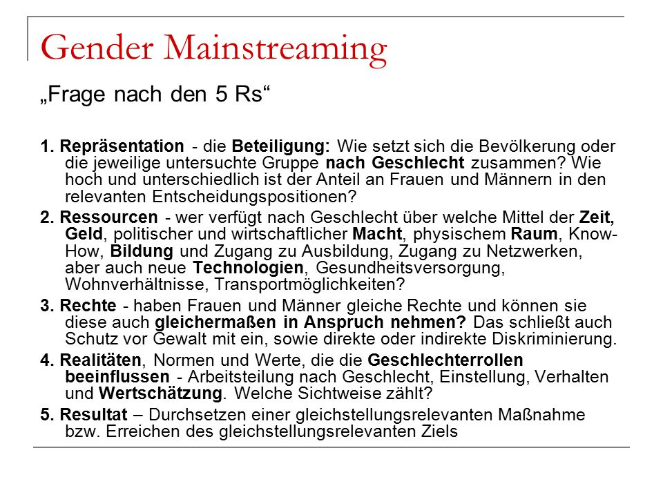 "Gender Mainstreaming ""Frage nach den 5 Rs"
