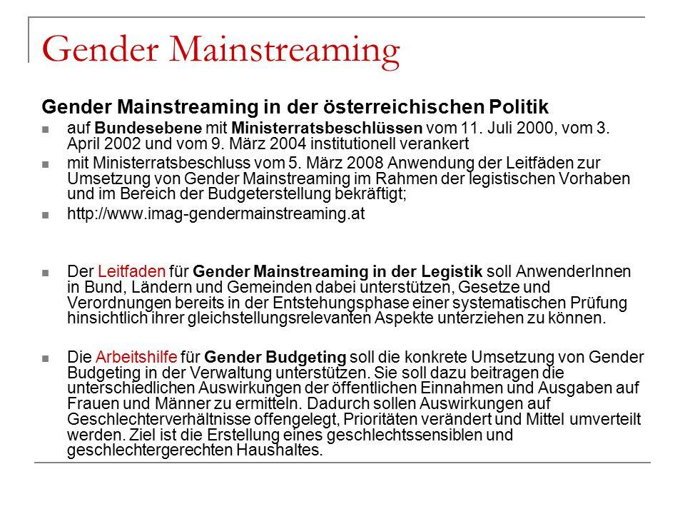 Gender Mainstreaming Gender Mainstreaming in der österreichischen Politik.
