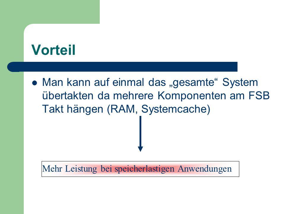 """Vorteil Man kann auf einmal das """"gesamte System übertakten da mehrere Komponenten am FSB Takt hängen (RAM, Systemcache)"""