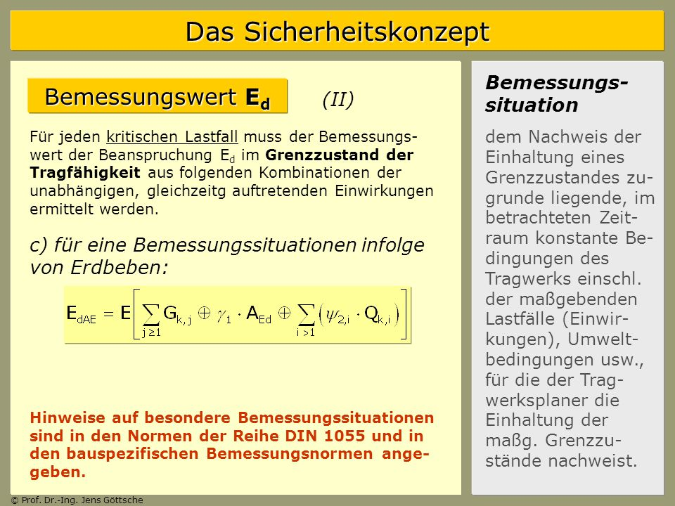 Bemessungswert Ed Bemessungs-situation (II)