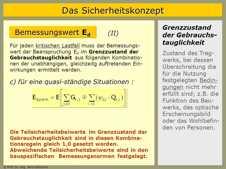 Bemessungswert Ed Grenzzustand der Gebrauchs-tauglichkeit (II)