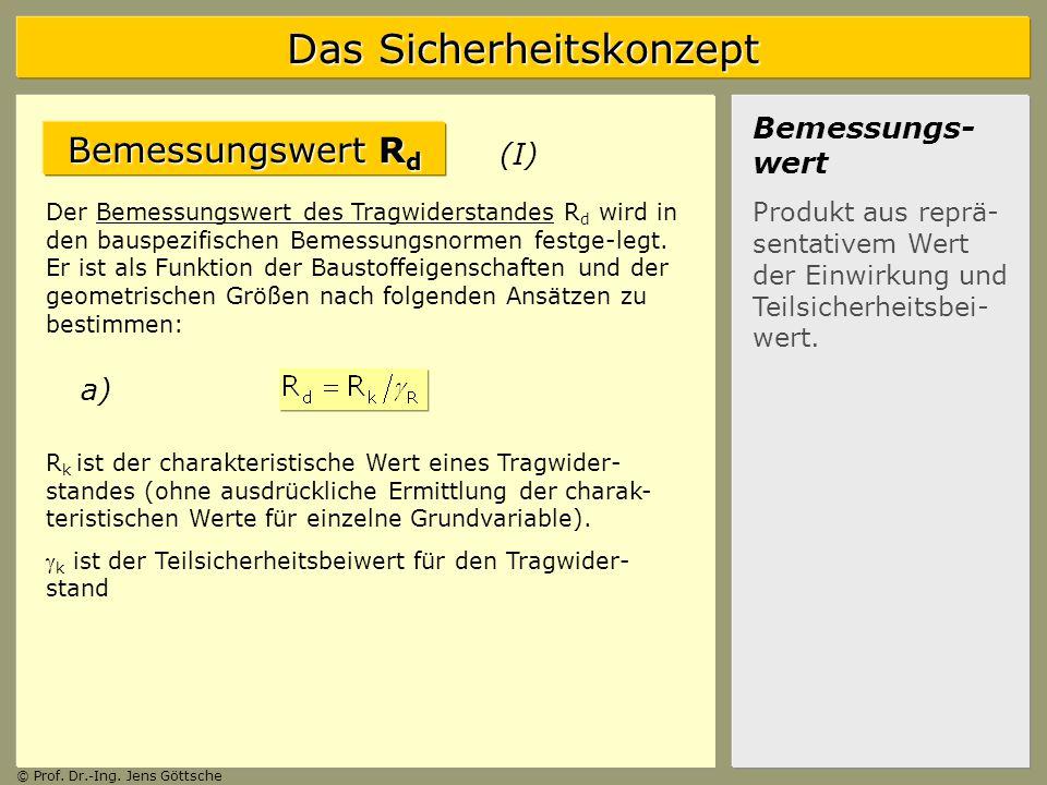 Bemessungswert Rd Bemessungs-wert (I) a)