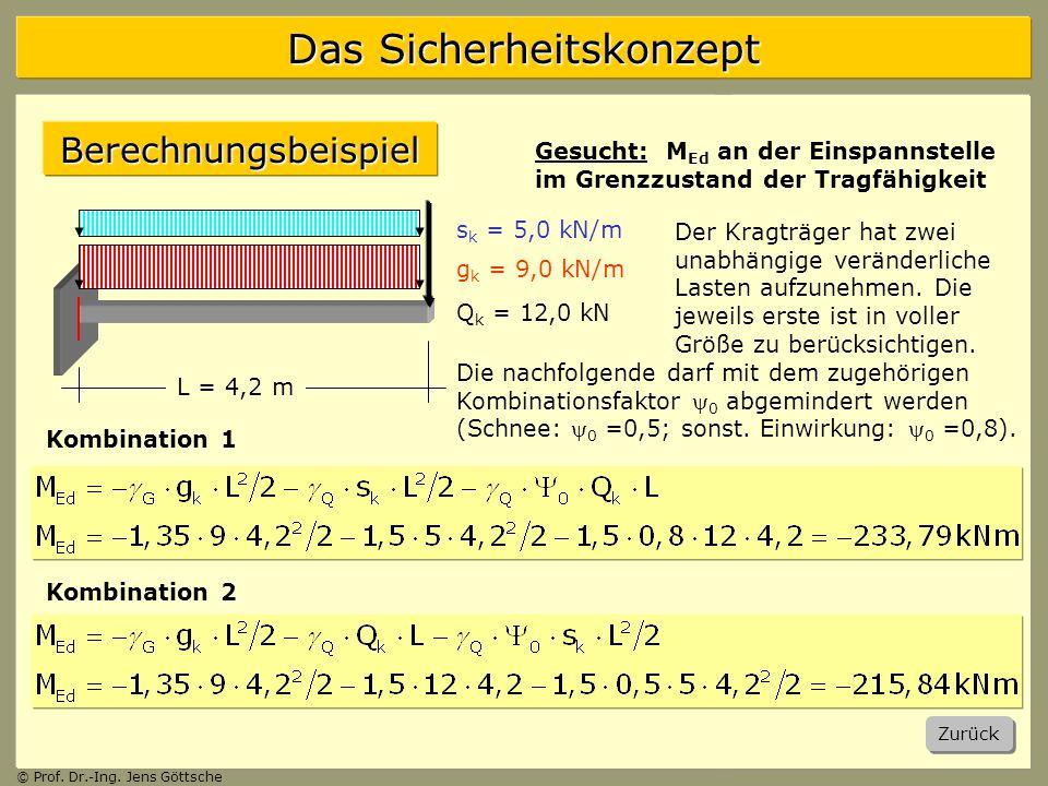 Berechnungsbeispiel Gesucht: MEd an der Einspannstelle im Grenzzustand der Tragfähigkeit. sk = 5,0 kN/m.