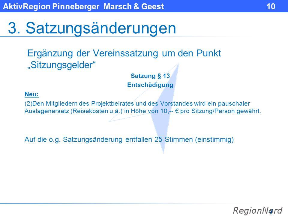 """3. Satzungsänderungen Ergänzung der Vereinssatzung um den Punkt """"Sitzungsgelder Satzung § 13. Entschädigung."""