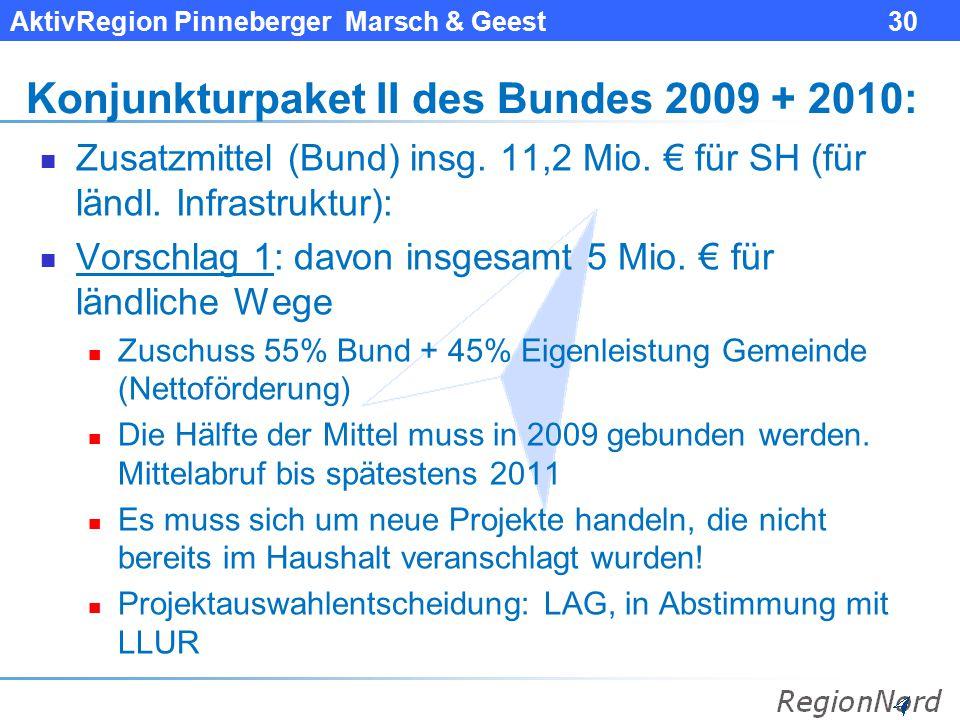 Konjunkturpaket II des Bundes 2009 + 2010: