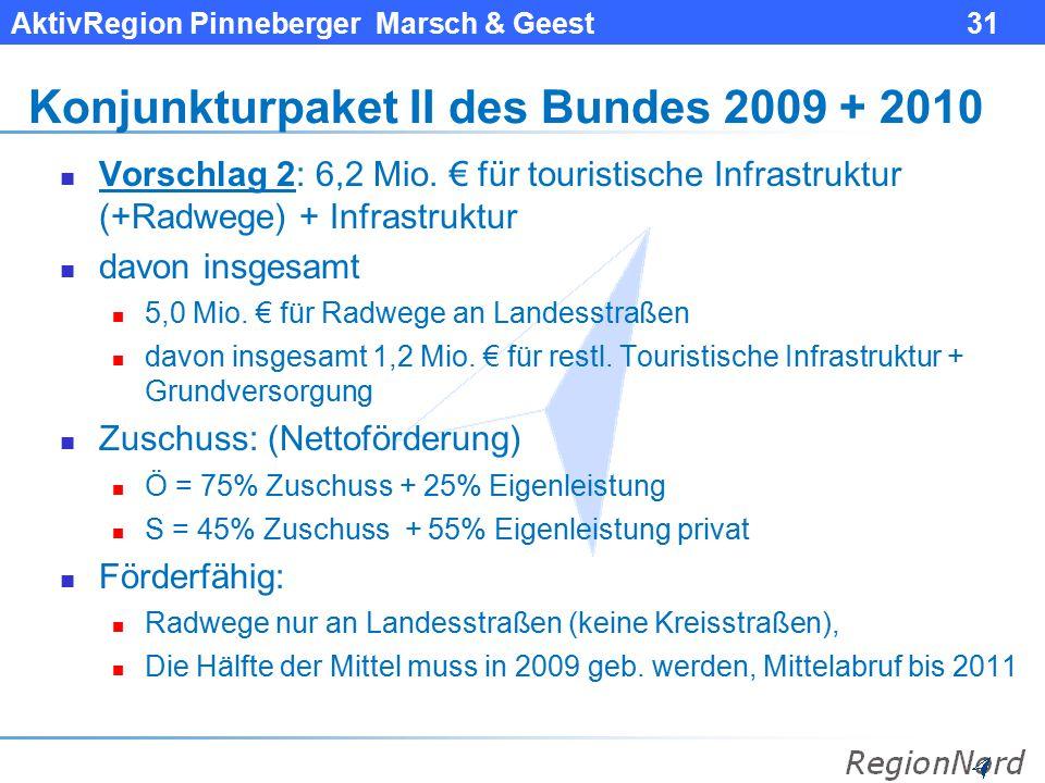 Konjunkturpaket II des Bundes 2009 + 2010
