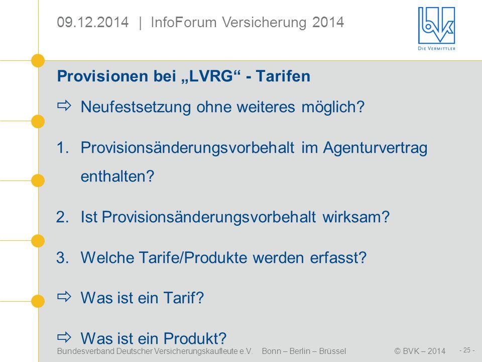 """Provisionen bei """"LVRG - Tarifen"""