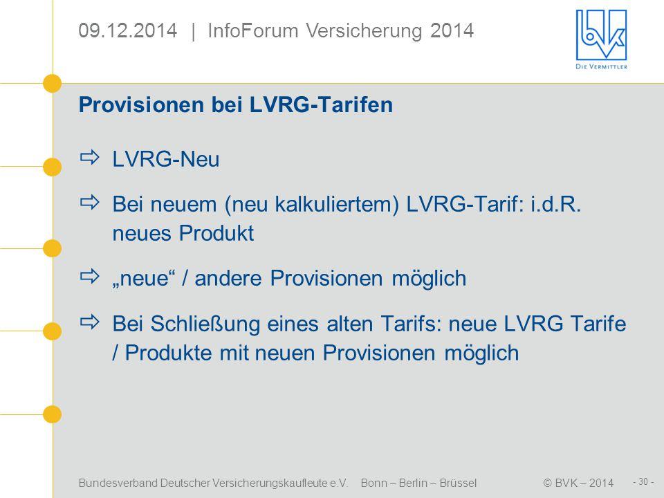 Provisionen bei LVRG-Tarifen