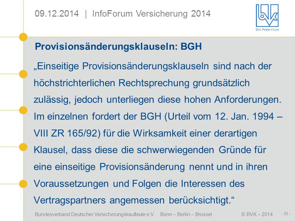 Provisionsänderungsklauseln: BGH