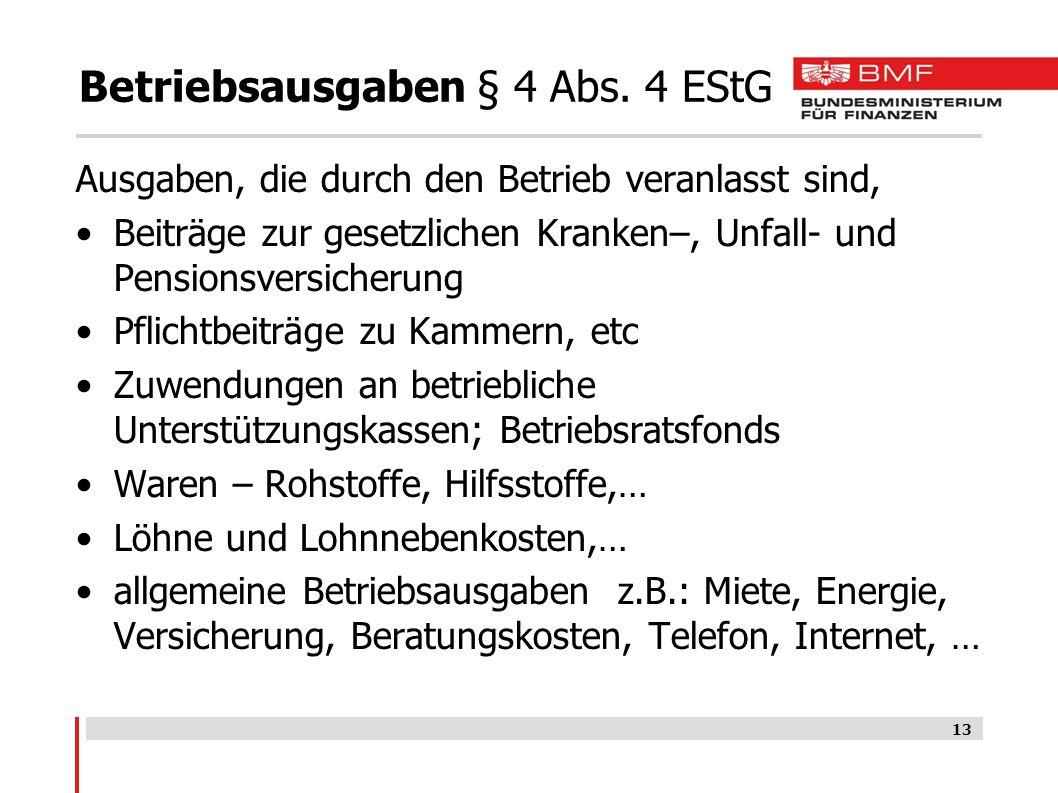 Betriebsausgaben § 4 Abs. 4 EStG