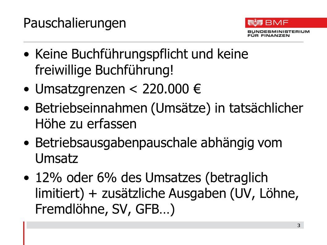 Pauschalierungen Keine Buchführungspflicht und keine freiwillige Buchführung! Umsatzgrenzen < 220.000 €