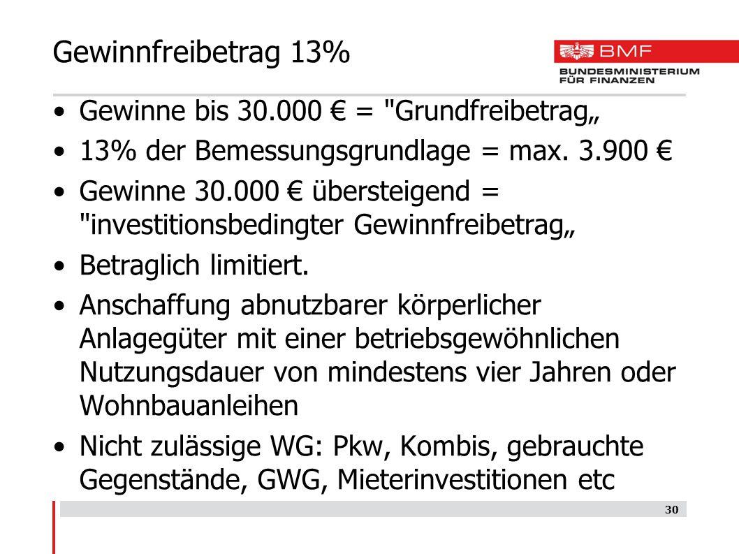 """Gewinnfreibetrag 13% Gewinne bis 30.000 € = Grundfreibetrag"""""""
