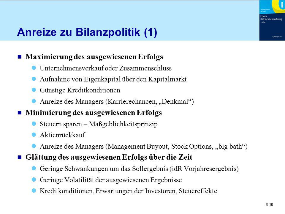 Anreize zu Bilanzpolitik (1)