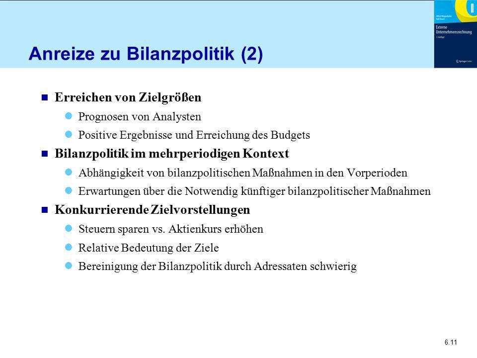 Anreize zu Bilanzpolitik (2)
