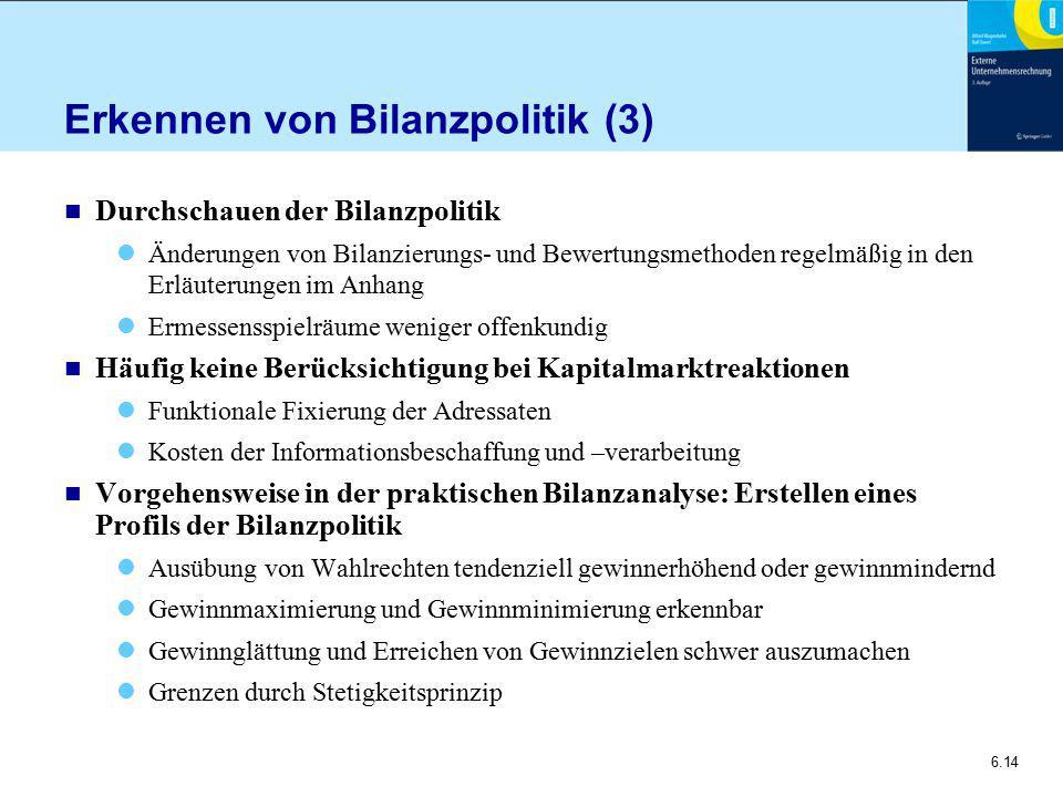 Erkennen von Bilanzpolitik (3)