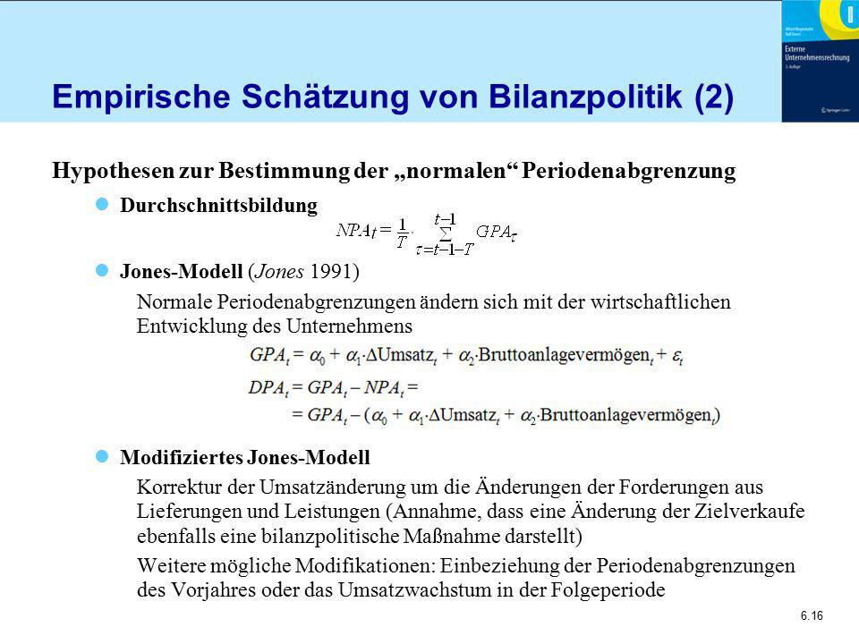 Empirische Schätzung von Bilanzpolitik (2)