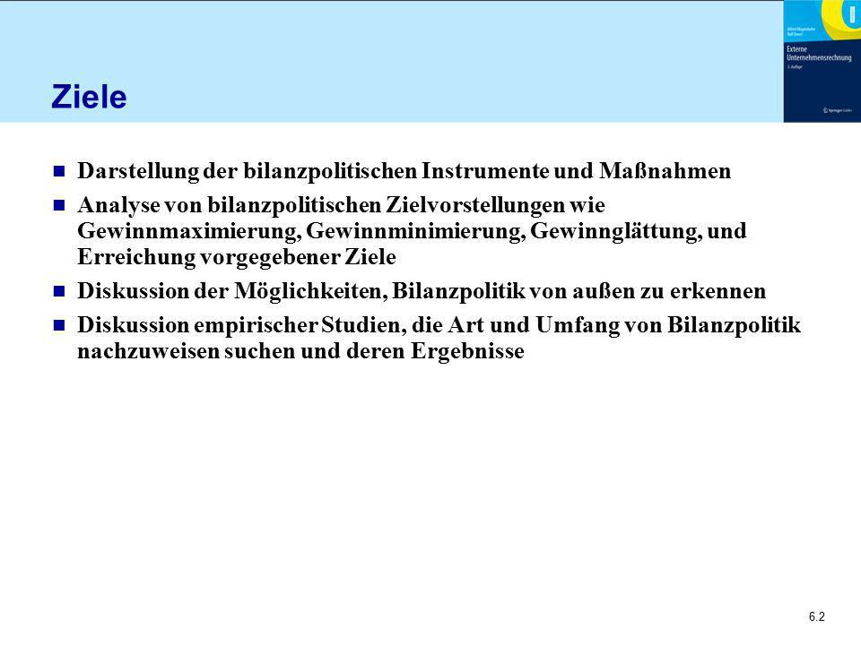Ziele Darstellung der bilanzpolitischen Instrumente und Maßnahmen