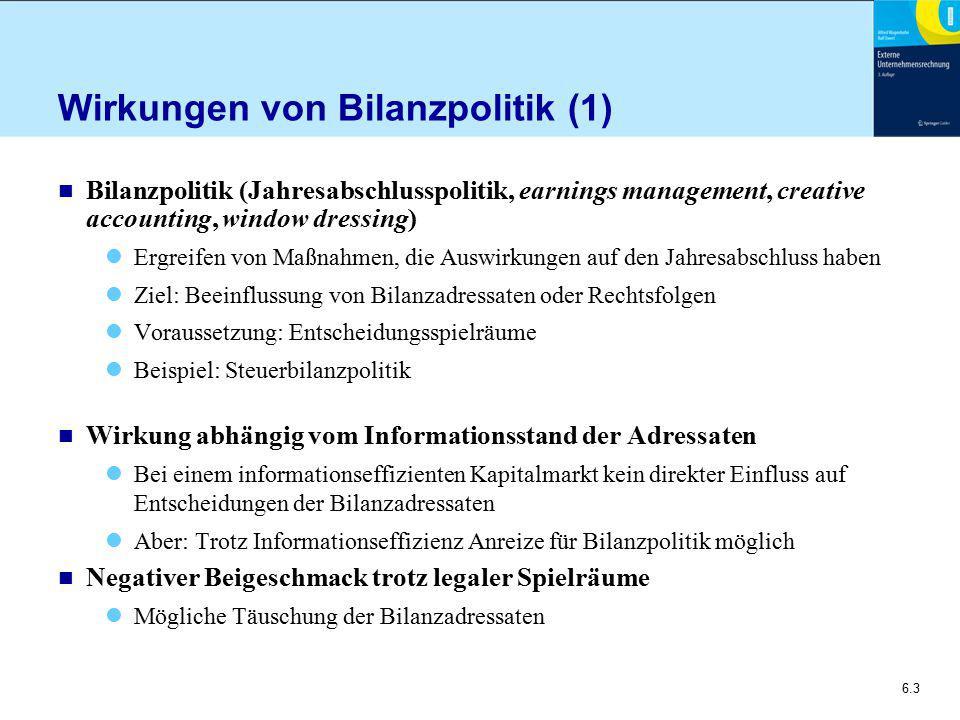 Wirkungen von Bilanzpolitik (1)
