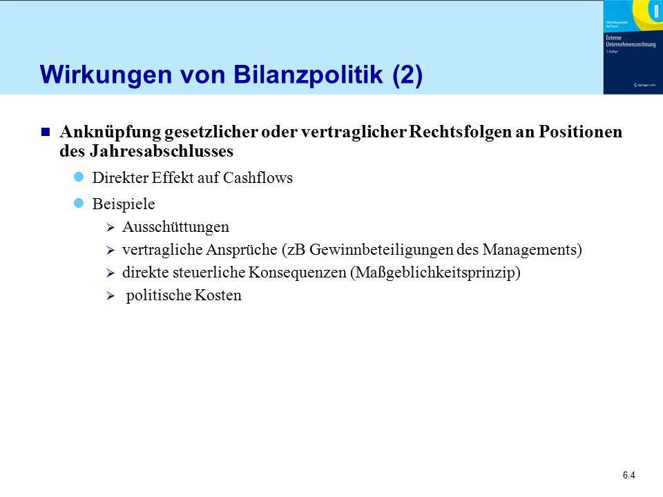 Wirkungen von Bilanzpolitik (2)