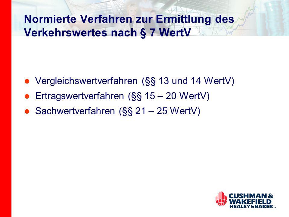 Normierte Verfahren zur Ermittlung des Verkehrswertes nach § 7 WertV