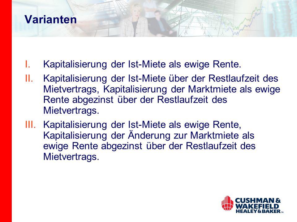 Varianten Kapitalisierung der Ist-Miete als ewige Rente.