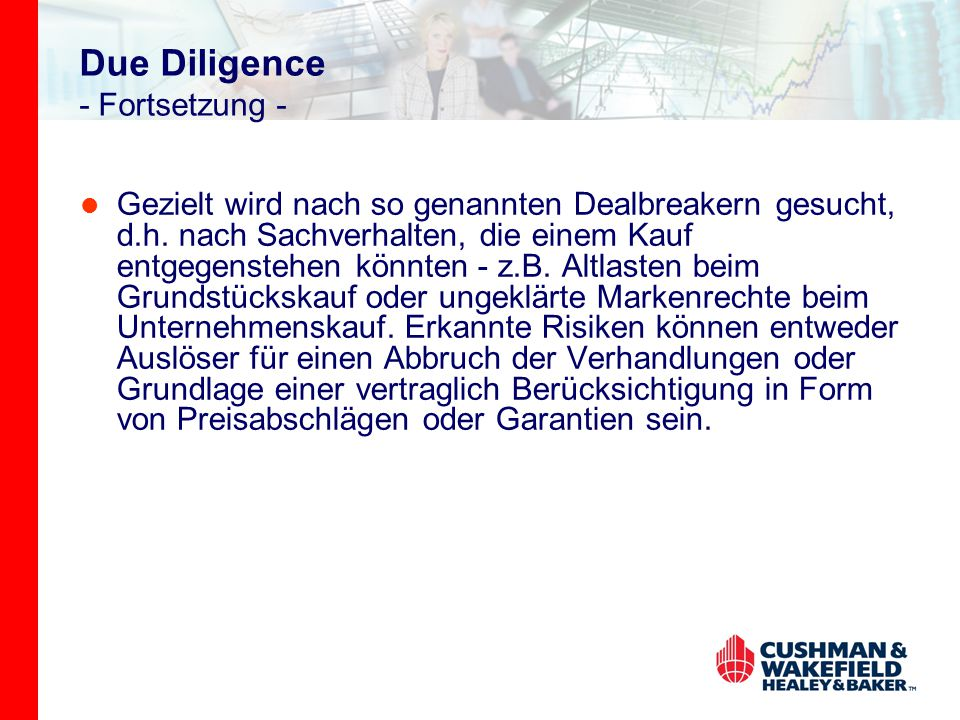 Due Diligence - Fortsetzung -