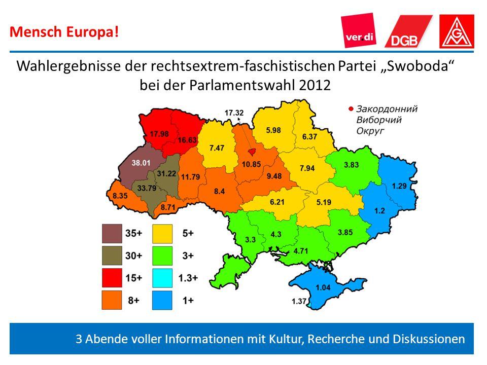 """Mensch Europa! Wahlergebnisse der rechtsextrem-faschistischen Partei """"Swoboda bei der Parlamentswahl 2012."""