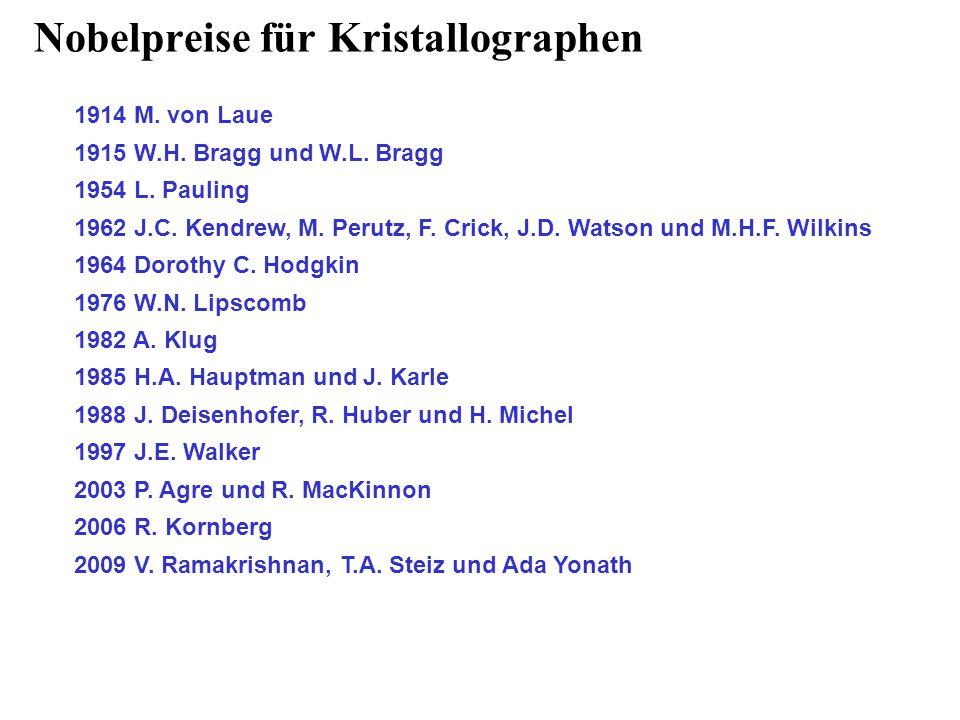 Nobelpreise für Kristallographen