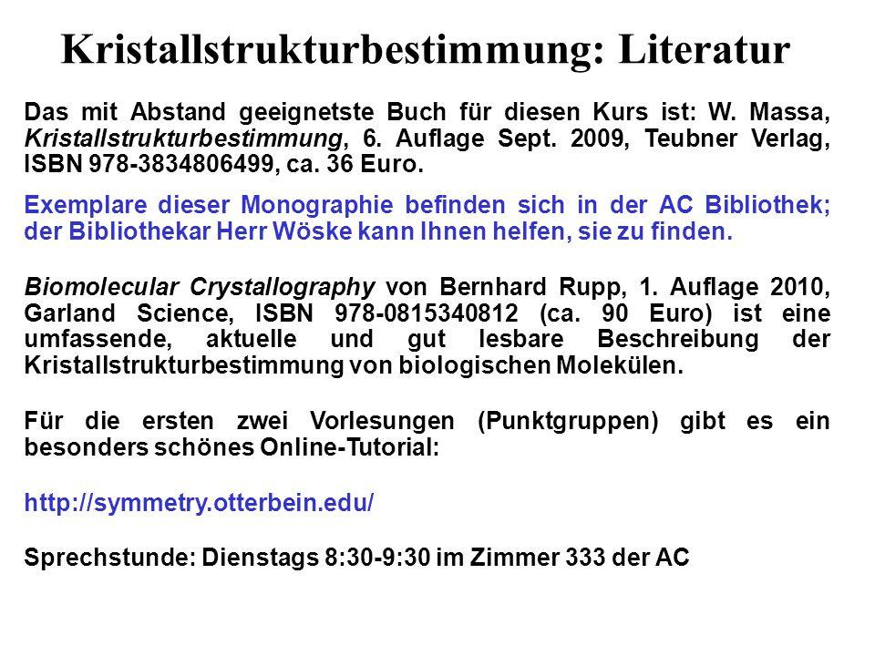 Kristallstrukturbestimmung: Literatur