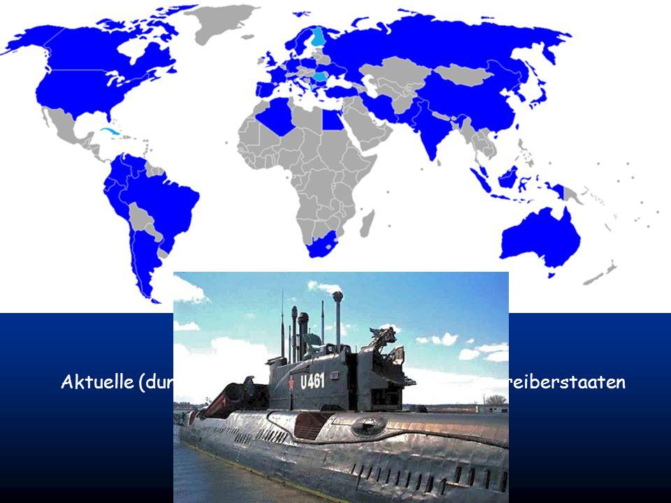 http://www.funny-powerpoints.info Aktuelle (dunkelblau) und ehemalige (hellblaue) Betreiberstaaten militärischer U-Boote.