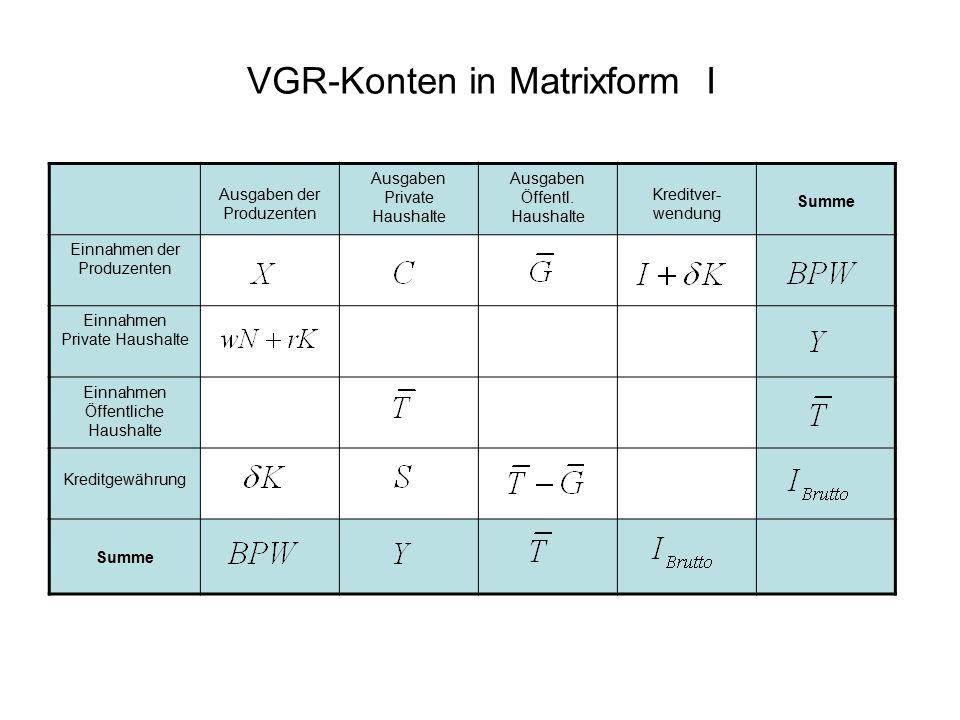 VGR-Konten in Matrixform I