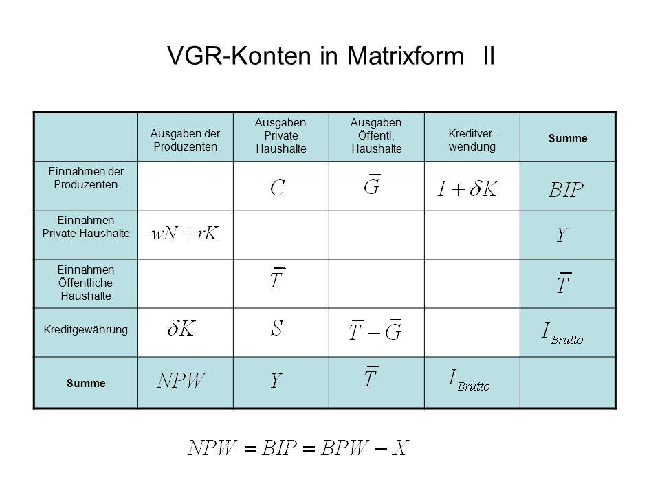 VGR-Konten in Matrixform II