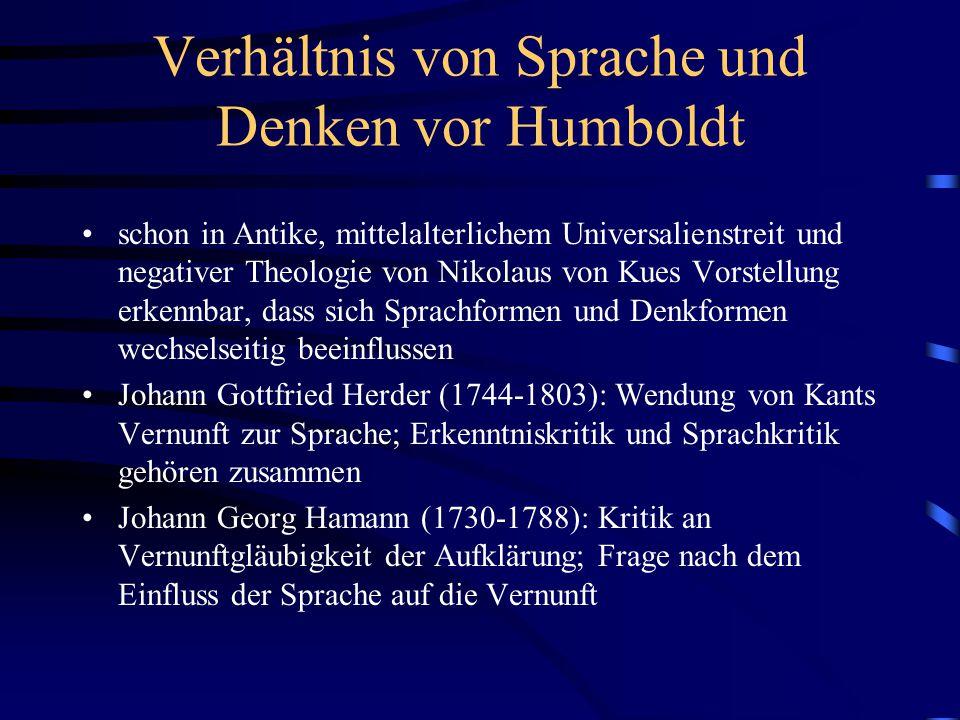 Verhältnis von Sprache und Denken vor Humboldt