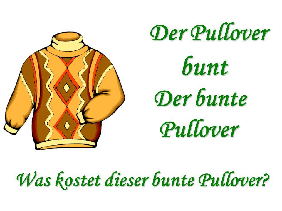 Der Pullover bunt Der bunte Pullover Was kostet dieser bunte Pullover