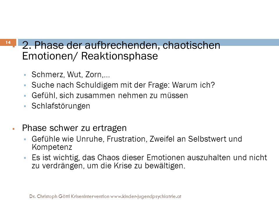 2. Phase der aufbrechenden, chaotischen Emotionen/ Reaktionsphase