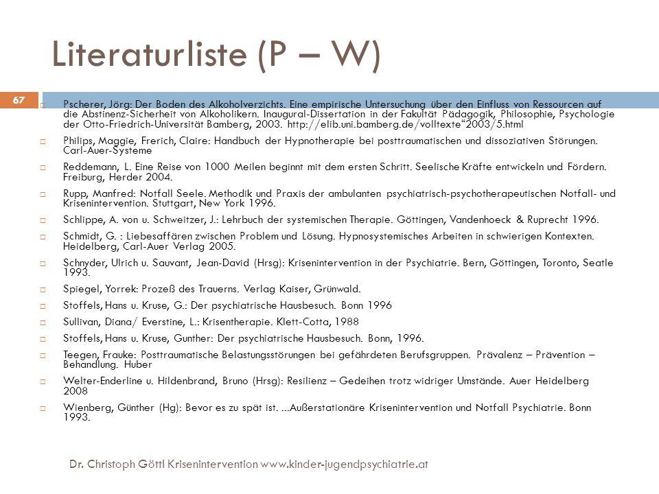 Literaturliste (P – W)