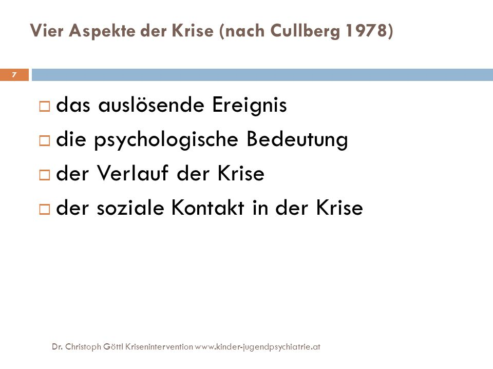 Vier Aspekte der Krise (nach Cullberg 1978)
