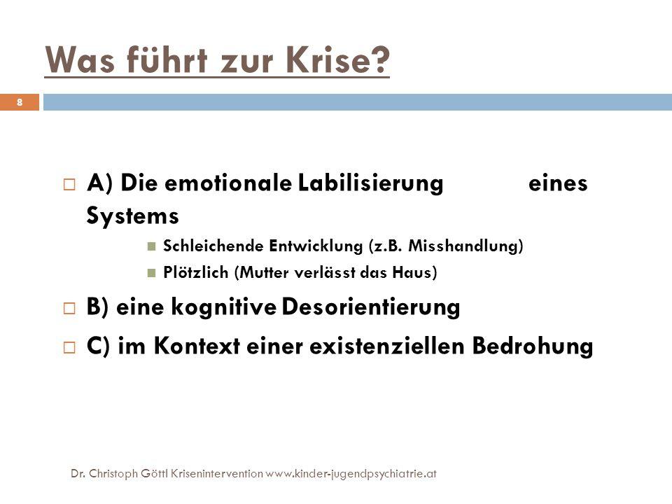 Was führt zur Krise A) Die emotionale Labilisierung eines Systems