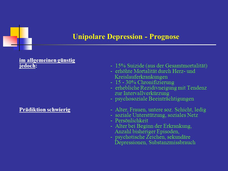 Unipolare Depression - Prognose