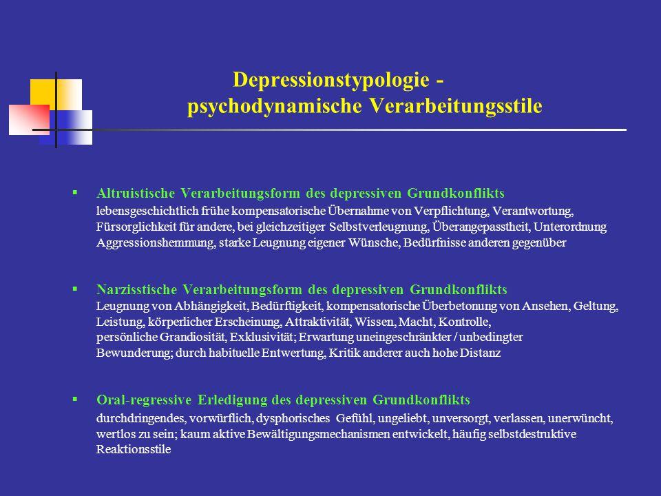Depressionstypologie - psychodynamische Verarbeitungsstile
