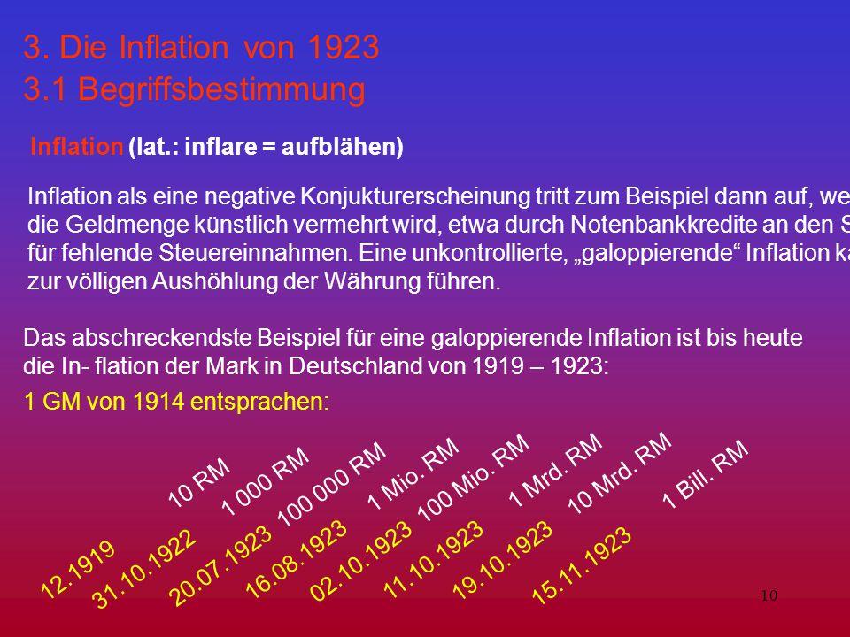 3. Die Inflation von 1923 3.1 Begriffsbestimmung