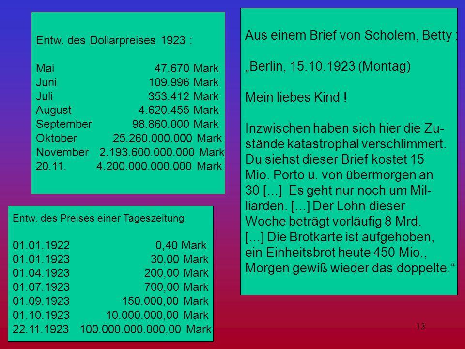 """Aus einem Brief von Scholem, Betty : """"Berlin, 15.10.1923 (Montag)"""