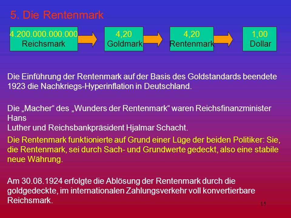 5. Die Rentenmark 4.200.000.000.000 Reichsmark 4,20 Goldmark 4,20