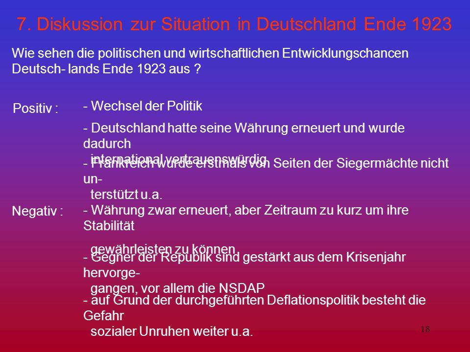 7. Diskussion zur Situation in Deutschland Ende 1923