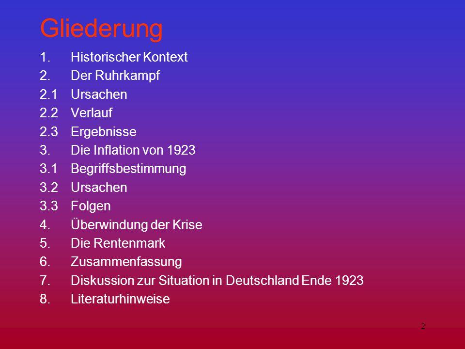 Gliederung 1. Historischer Kontext 2. Der Ruhrkampf 2.1 Ursachen